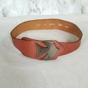 Fossil Brown Leather Belt Silver Bird Buckle M